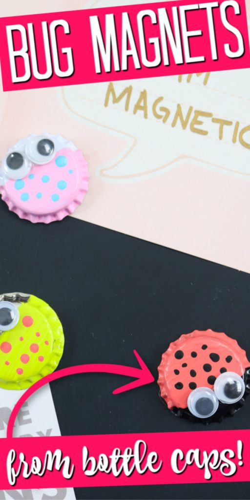 Make these bottle cap magnets with the kids! This easy kids craft is perfect for just about any age and super cute as well! #crafts #kidscrafts #bottlecaps #bugs #easycrafts