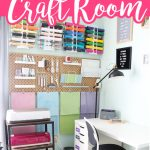 Step inside this Cricut craft room and take a tour! Get organizing ideas for your craft supplies as well as inspiration to make your own gorgeous creative space! #craftroom #cricut #cricutcreated #creative #crafts #organized #organization