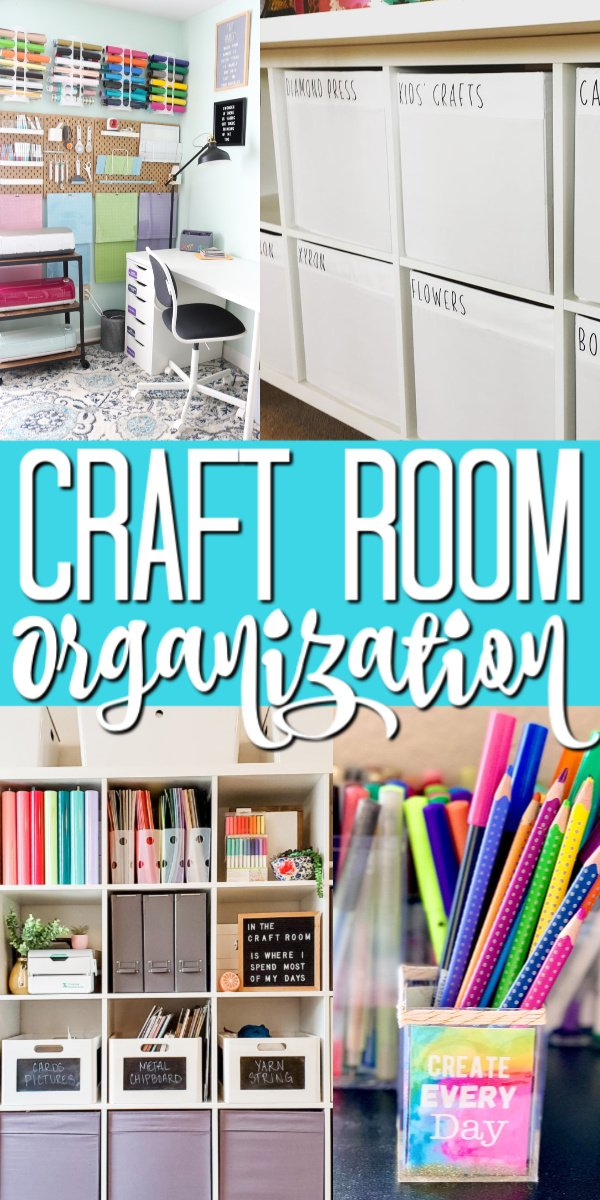 A Cricut craft room and craft room organization ideas from four professional craft bloggers! You will be inspired to create your own area for creativity! #cricut #cricutcreated #organization #craftroom #creativity #crafts