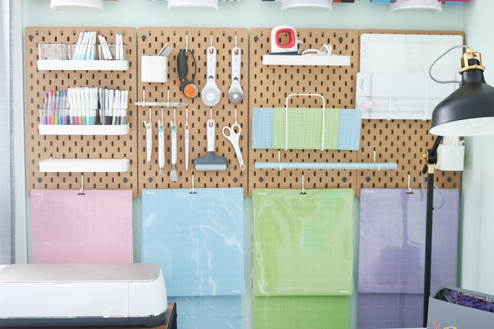 using a pegboard to organize cricut supplies