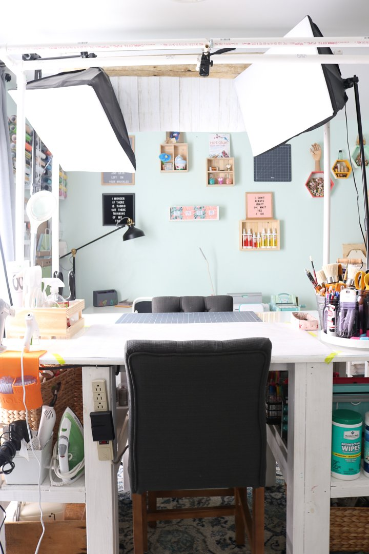 craft blogger work area