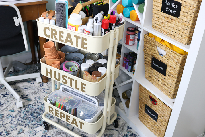 craft supplies on a cart