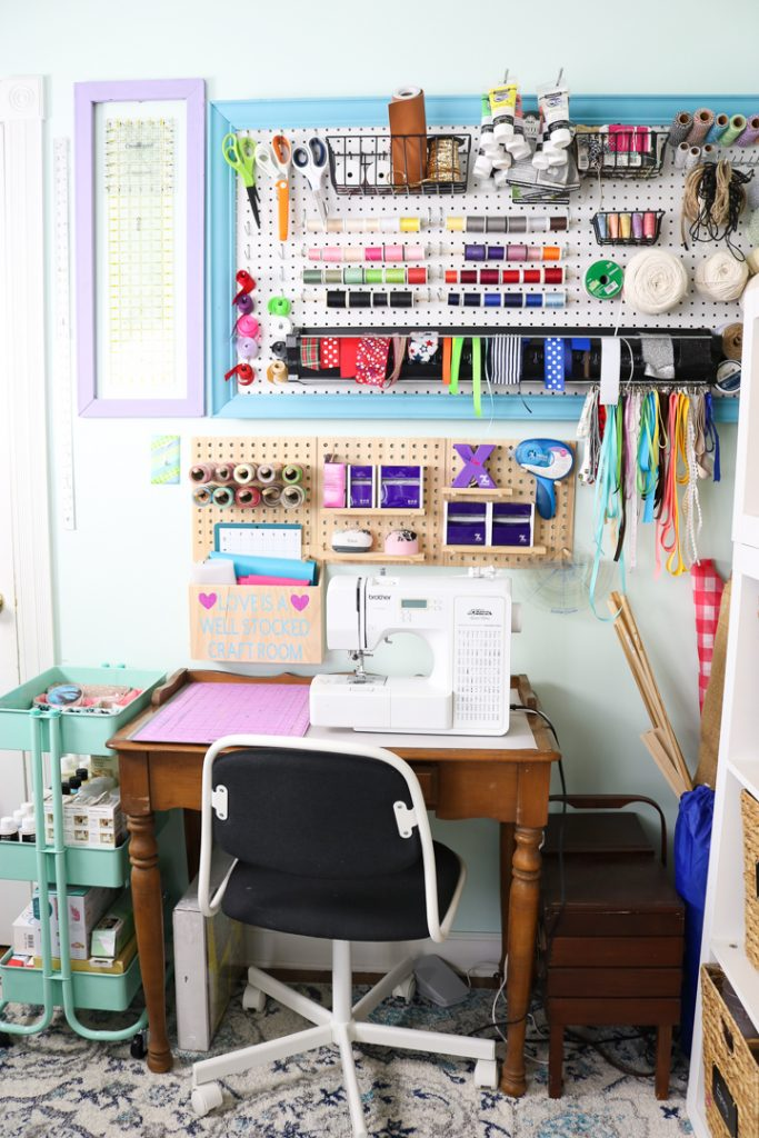 craft room pegboard storage