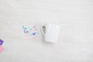 cutting scrap vinyl into confetti