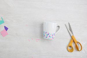 sprinkles coffee mug with scrap adhesive vinyl