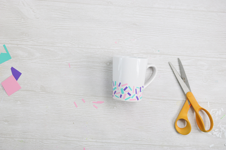 sprinkles coffee mug with scrap adhesive vinyl