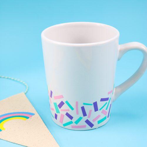 coffee mug with scrap vinyl decoration