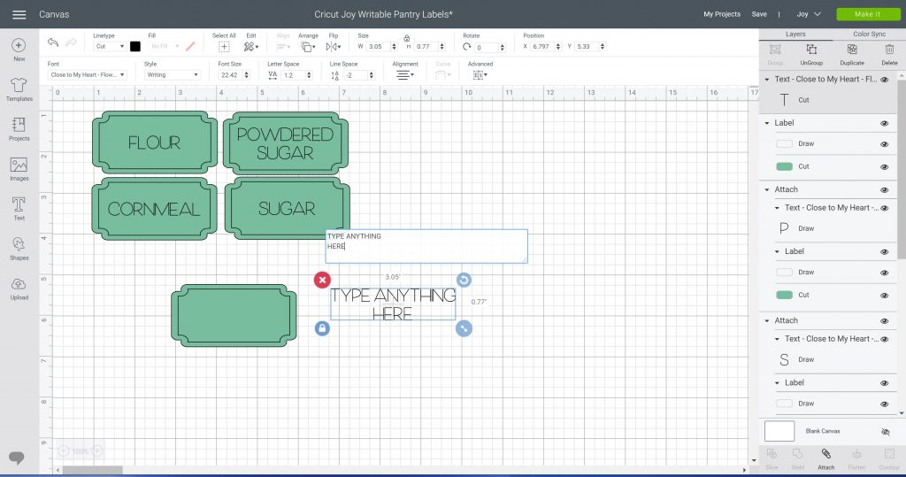 changing text in cricut design space