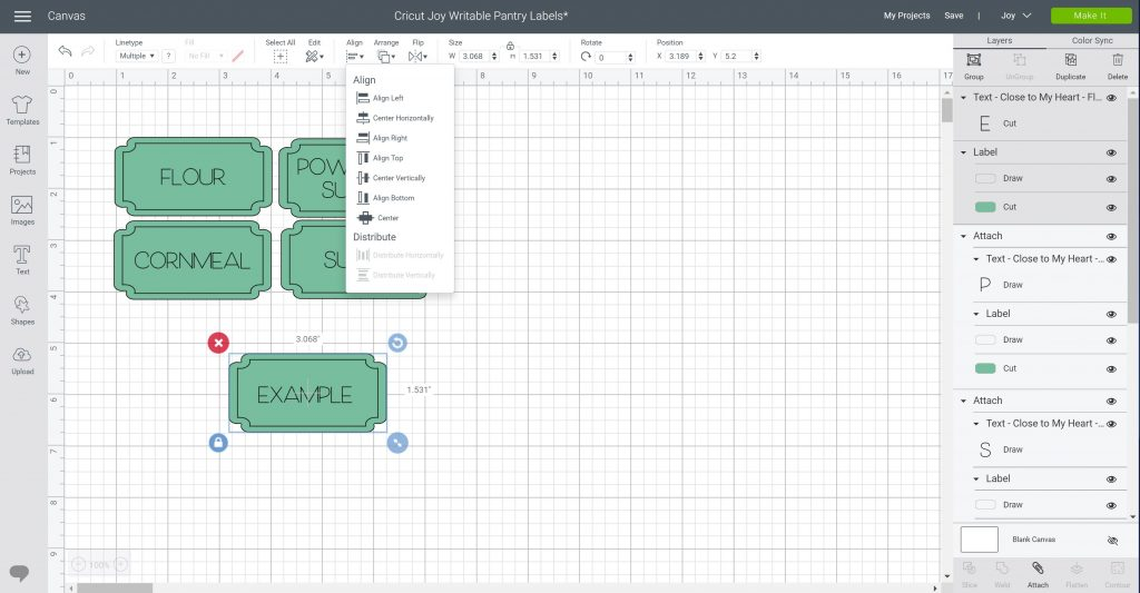 aligning text with label in cricut design space