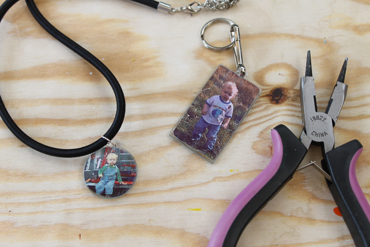 photo keychain and necklace