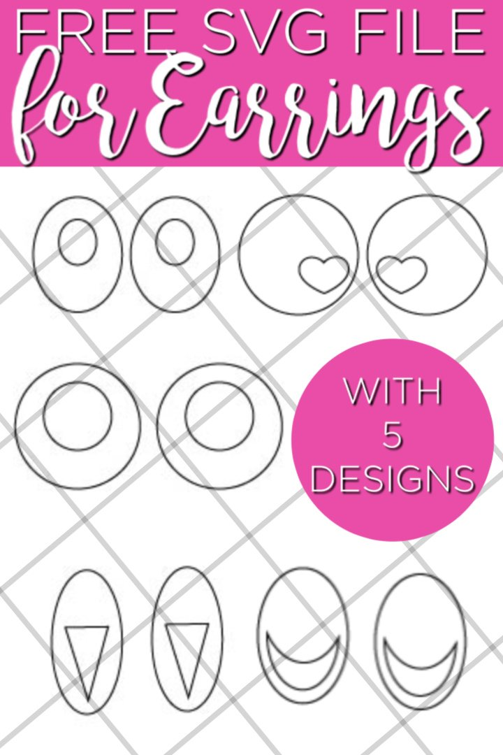 Free earrings SVG file for you to upload to your Cricut machine! Make these 5 designs for yourself or to give as gifts! #cricut #cricutcreated #earrings #fauxleather