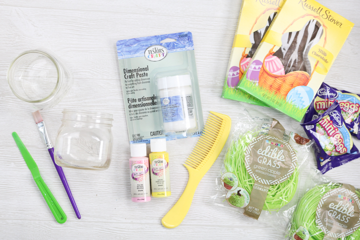 supplies to make mason jars for easter baskets