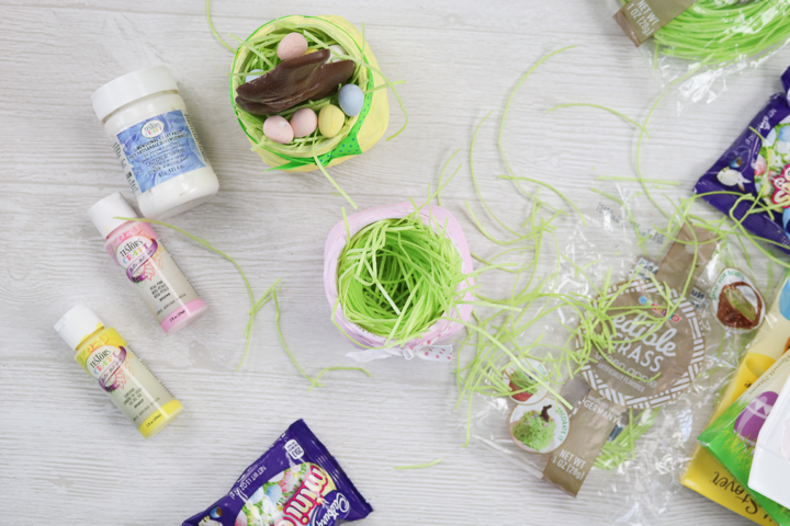edible easter grass in a mason jar