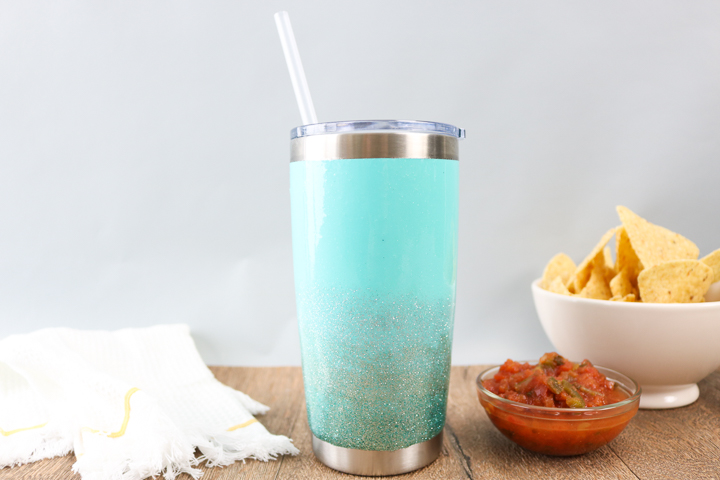 how to coat a tumbler with glitter