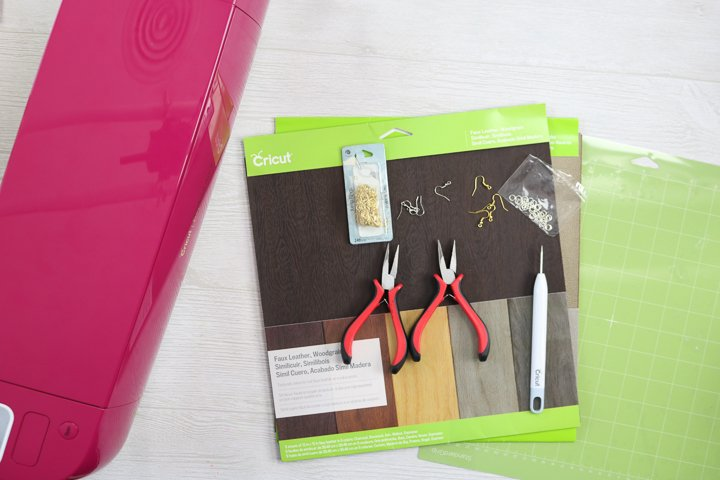 supplies to create earrings with a cricut