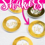Learn how to make shaker crafts including shaker pins. This trend is made easy with Xyron adhesive. #shakercrafts #shakers #shakerpins #xyron #xyroncrafts #goldfoil #glaminator