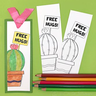 Cactus coloring bookmarks