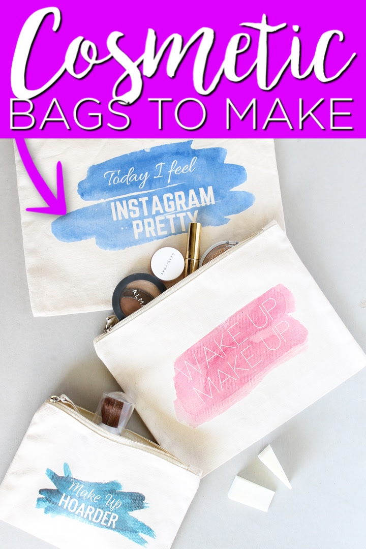 DIY cosmetic bags are easy to make with this method that uses t-shirt transfers! Print these designs for free and decorate your make up bags in minutes! #makeup #bags #printable #watercolor #teens #teencrafts