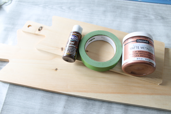 supplies for painting the handles of cutting boards