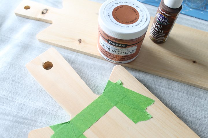 masking tape on a wood cutting board