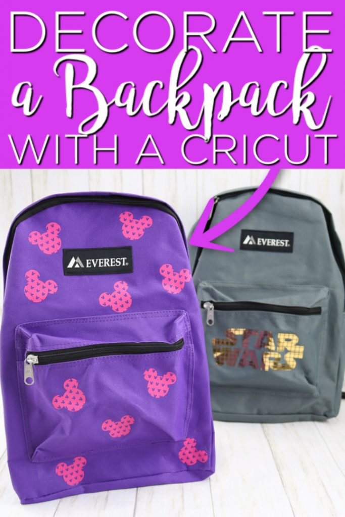 Learn how to make DIY backpacks with your Cricut machine and this easy to follow tutorial! Adding iron-on is a great way to make personalized backpacks for school! #backpacks #school #cricut #cricutcreated #mickeymouse #starwars #ironon #htv #heattransfervinyl