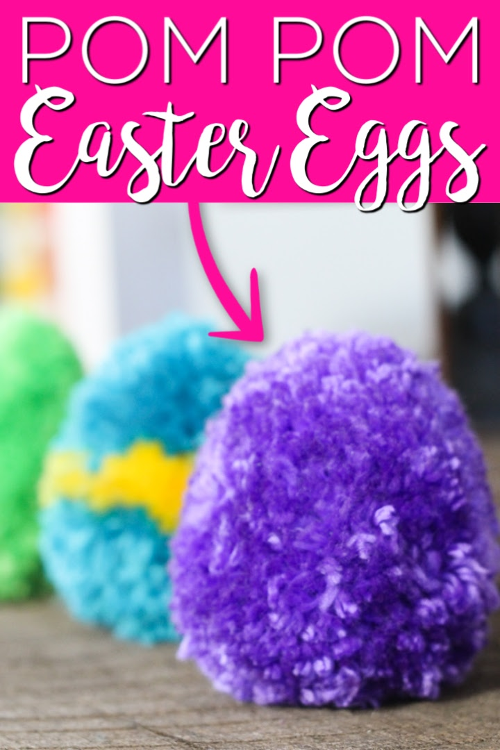 Puple, blue, and green pom pom Easter eggs made out of yarn.