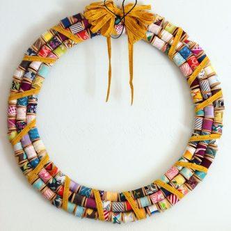 scrap fabric spool wreath
