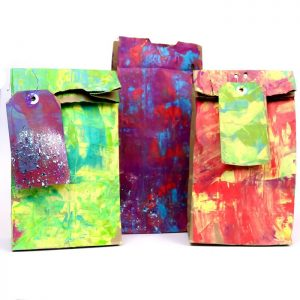 Scrape painted gift bags