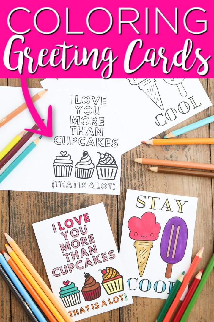 You can print greeting cards at home to send to friends and family! Coloring page cards and so many more designs to print for free! #printaable #freeprintable #coloringpages #greetingcards #cards