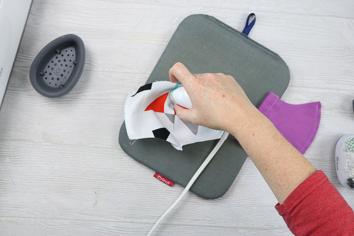 ironing a face mask