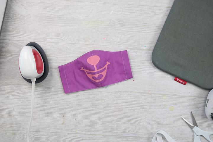 top stitch on a face mask