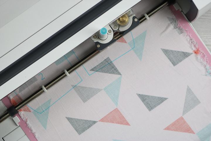 fabric pen marking fabric in a cricut maker