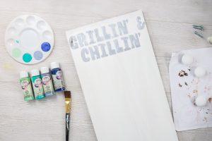 adding paint to DIY grill tool organizer
