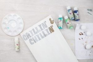 painting white over the top of stencil letters