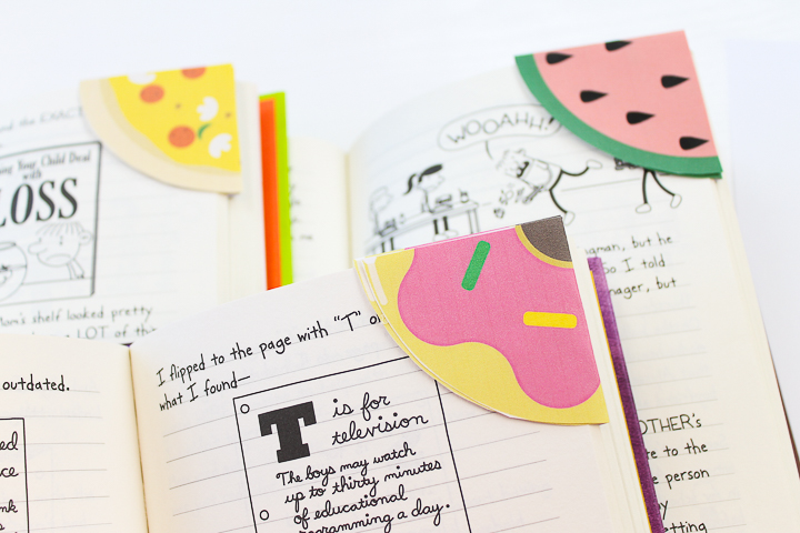 donut, pizza, and watermelon bookmarks