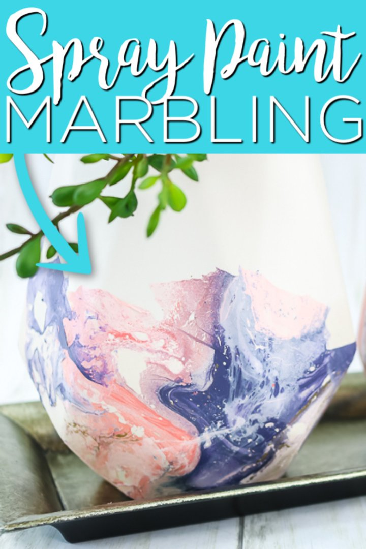 Have you tried spray paint marbling? This easy paint technique can be used on just about any surface to get a cool effect with just a few supplies! #spraypaint #crafts #homedecor #marbling #marbled #painting