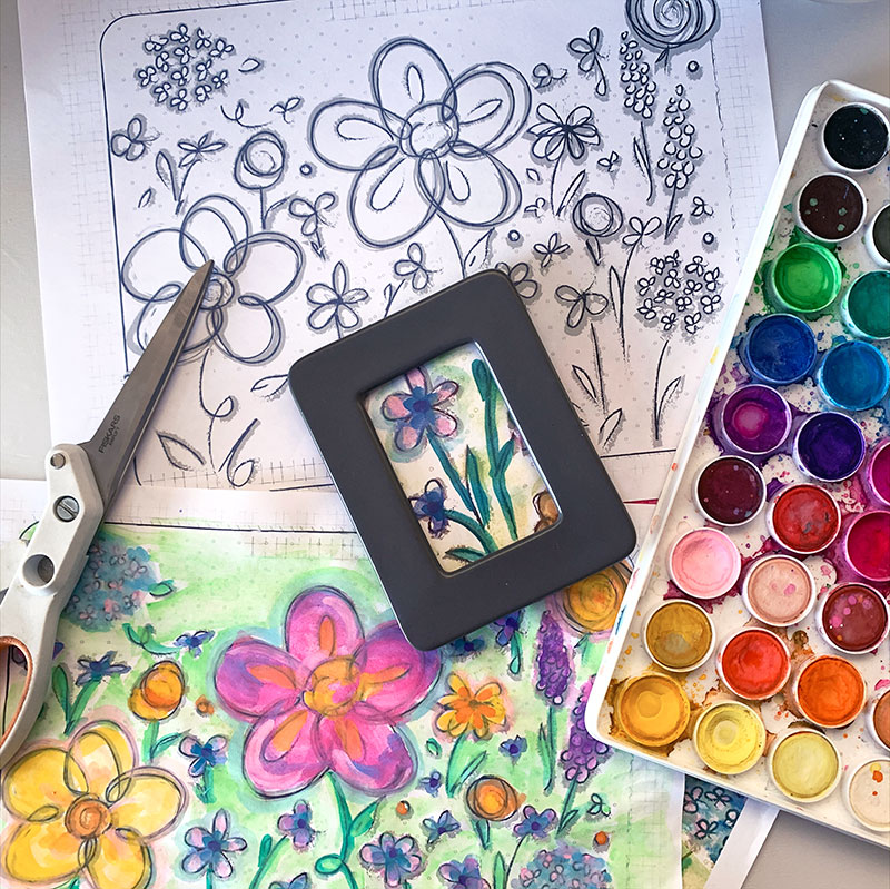Make mini art decor with coloring pages
