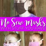 These no sew face masks all use things you probably already have around your home. From bandannas to old t-shirts to reusable shopping bags, you can make a DIY face mask! #facemasks #nosew #nosewing #tutorial