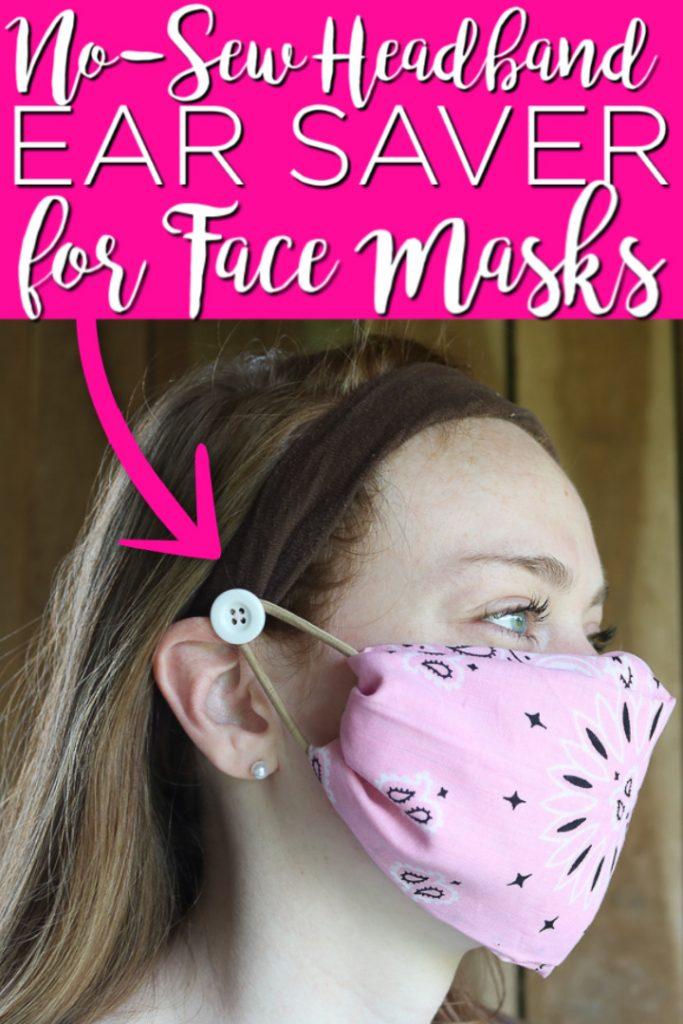 Make this no-sew headband ear saver for face masks for yourself or for your nurse friends! If you hate the elastic of face masks around your ears, this is the project for you! #headband #facemask #nosew #earsaver #healthcare #nurse #doctor