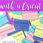 Learn how to use print then cut on colored paper with a Cricut Maker! This post shows how to cut printed card stock on dark and even patterned paper! #cricut #cricutcreated #freeprintable #printable #printthencut #cricutmaker