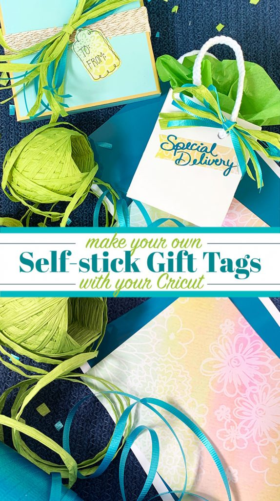 Use your Cricut to make DIY self-stick gift tags with this easy tutorial. You will love adding this special touch to your gifts! #cricut #cricutcreated #diy #gift #giftwrap #giftidea