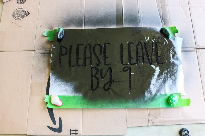 using spray paint on a doormat
