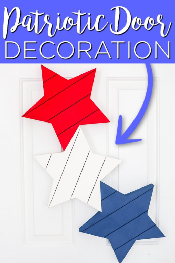Make patriotic door decor in minutes with these easy wood stars that will be an eye-catching welcome to your summer guests! #summer #patriotic #4thofjuly #stars #door #wreath
