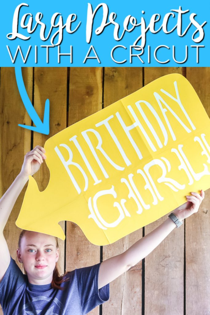 Want to make larger than the mat projects on a Cricut? We have all of the instructions you need to make large projects easy with any Cricut machine! #cricut #cricutcreated #cricutmachine #largeprojects #bigprojects #birthday #sign #cricutsign