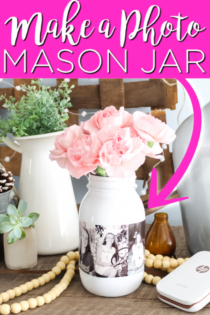 Make this photo mason jar and use it for parties or just to decorate your home! This easy DIY project is simply stunning when it is complete! #masonjar #parties #giftidea