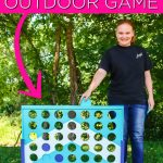 Make a DIY backyard game that the entire family will love with this giant four in a row game that can be customized with paint to match your outdoor decor! #backyard #outdoors #game #yard #kids #summer #summerfun