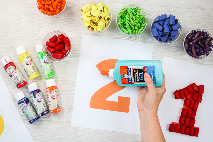 adding glue to free number printable
