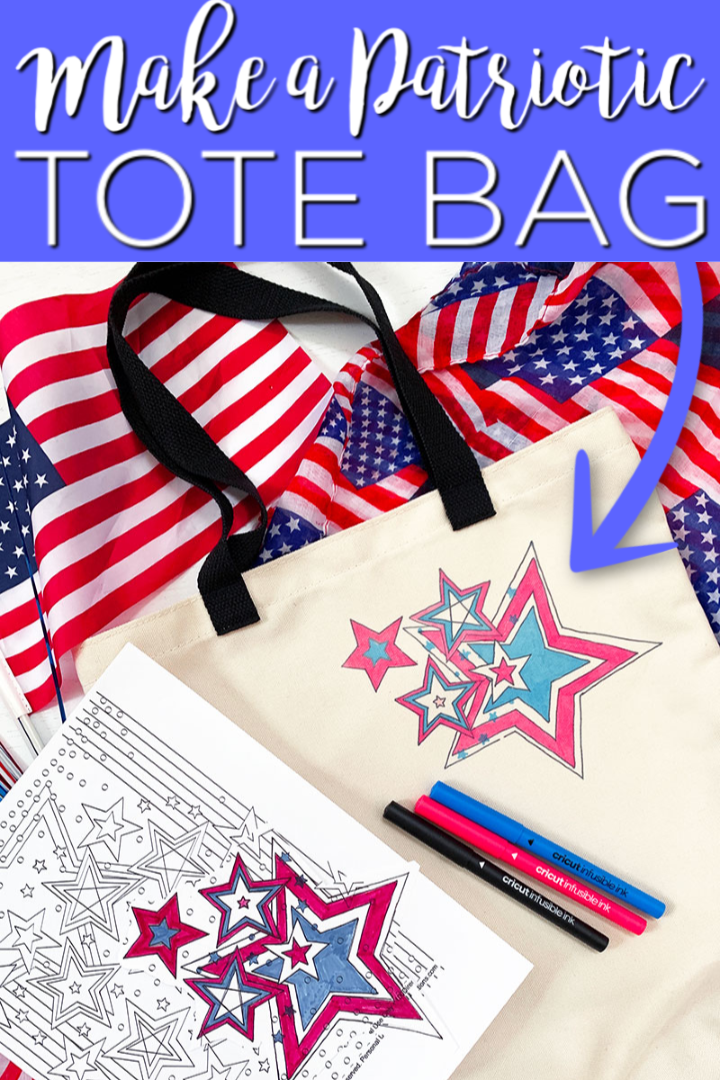 Learn how to make a patriotic tote bag with Cricut Infusible Ink markers! Use coloring pages to make this craft in minutes! It is so easy the kids can even create their own tote bag design! #totebag #infusibleink #cricut #cricutcreated #kidscraft #craftidea #patriotic #4thofjuly #redwhiteandblue