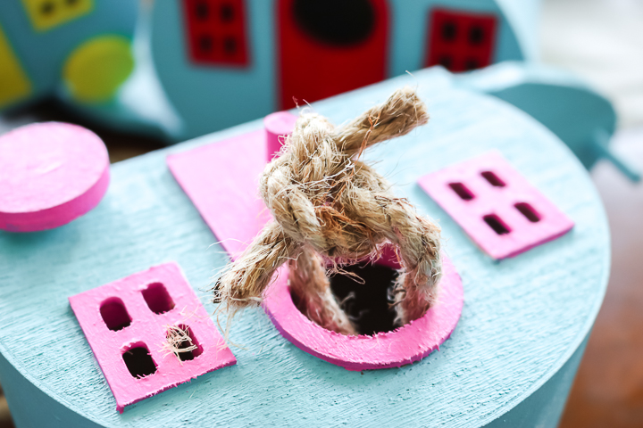 adding a rope hanger to a birdhouse
