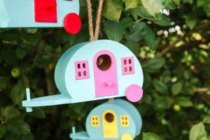 birdhouse shaped like a retro camper
